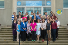 2019: Group portrait photo of Epidemiology and Environmental Health faculty and staff at Farber Hall. Degree programs include 3 MPH, MS and PhD; 85 students; 64 full-time and associated faculty; 100% placement of department graduates.