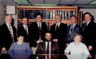 Robert O'Shea, Dennis Bertram, Brian Pech, Michael Noe, Terry Pechacek, Charles Pruitt, Jo Freudenheim, Maurizio Trevisan, Maria Zieleznyf. Faculty at the time of the formation of the preventive medicine residency and Dr. Pech, the first resident in the program (approx. 1990).