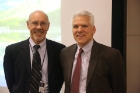 James Marshall, Tim Byers at Saxon Graham lecture given by Dr. Byers, 2015.