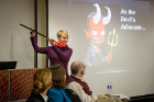 Wendy Quinton, clinical associate professor of psychology and winner of last year's Life Raft Debate, made her case as the devil's advocate to leave behind all of the faculty members.