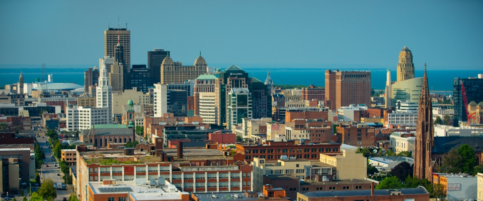 Downtown Buffalo and lake erie.