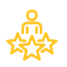 Icon of person with three stars.