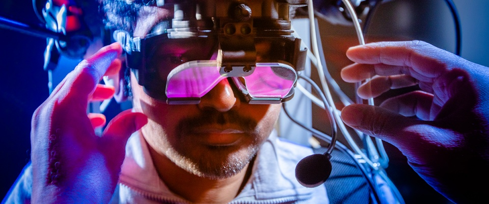 Researchers are using these infrared goggles to study how the nervous system processes information, with the goal of advancing rehabilitation for neurotrauma and degeneration.