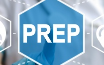 PrEP symbol on digital screen.