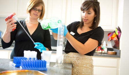 Assistant Professor Jennifer Temple, left, in her Department of Exercise and Nutrition Sciences Lab in Farber Hall.