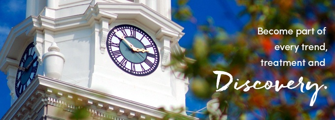 Hayes Hall clock tower. Become part of every trend, treatment and discovery.