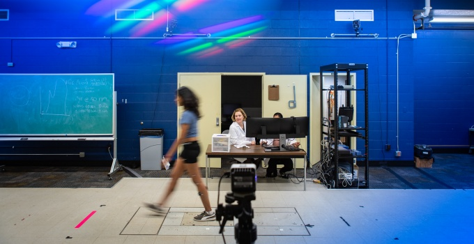 Angela Smalley, PhD candidate evaluating data in the biomechanics lab.